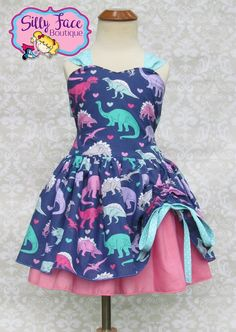 f02e78e593abc Girls Purple Dinosaur Jurassic Birthday Party Pageant Outfit Tomboy Dress