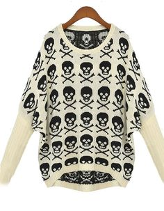 Apricot Batwing Long Sleeve Skull Embroidery Sweater