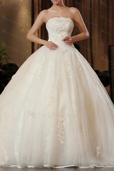 US $599.00 | Satin Strapless Chapel Train Ball Gown Wedding Dress with Embroidered