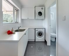 The Beautiful Laundry Room Ideas To Inspire You. Browse laundry and utility room ideas, with inspiration for organising your washing machine, tumble dryers, laundry baskets, iron and ironing board in your utility. Laundry Room Remodel, Basement Laundry, Laundry Room Storage, Basement Bathroom, Garage Laundry, Laundry Baskets, Laundry Rooms, Laundry Bathroom Combo, Toilet And Bathroom Design