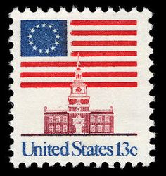 Independence Hall in Philadelphia appears on this 1975 flag stamp.