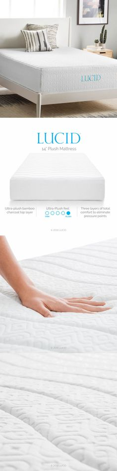 other bedding lucid 14inch plush fourlayer memory foam mattress