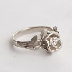 Rose Ring No.1 - 14K Gold White and Diamond ring, leaf ring, flower ring, antique, art nouveau, vintage