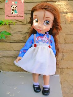 This dress is the Raggedy Ann cosplay for your Disney Animator doll.  The long sleeve blouse is made from Raggedy Ann printed cotton, attached with