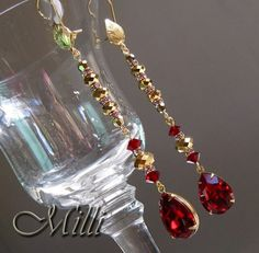 Glitzy 3,5 inch Long Linear Earrings with Swarovski Ruby Red and 2x Aurum Crystals SALE -