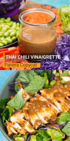 Thai Chili Vinaigrette (Panera Copycat) Thai Chili Vinaigrette is a Panera Copycat of your favorite peanut sauce! It is a little sweet, a little spicy and tastes amazing on everything! Thai Chili, Thai Sweet Chili Sauce, Thai Sauce, Side Dish Recipes, Asian Recipes, Dinner Recipes, Healthy Recipes, Asian Chicken Salads, Chicken Salad Recipes