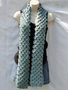 Crocodile Stitch Crocheted Scarf