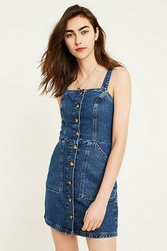 UO Denim Button-Through Pinafore Dress
