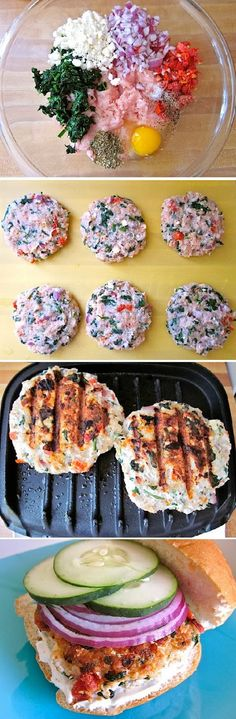 turkey burger - spinach & feta with greek yogurt spread.