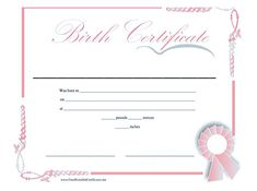 Baby Birth Certificate Template Unique Download Birth Certificate Template 01  Stuff   Pinterest .
