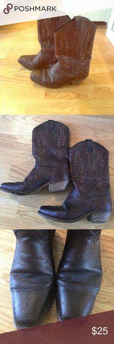 Brown 7.5 cowboy boots Well loved (thus, comfortable) chocolate brown cowboy boots. Need resoled but in good condition. These still have a lot of life left in them! Shoes