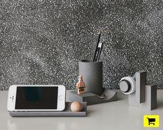 22 design studio defines merge desktop stationery set as distinct concrete sculptures