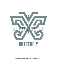 Butterfly - vector logo template concept illustration in line art design style. Creative geometric minimal sign.