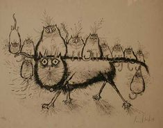 Cat with Kittens Ronald Searle 1967 Lithograph