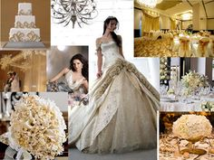 Champagne Cream - Champagne, Venetian Gold, Cleam, Silver, Ivory : PANTONE WEDDING Styleboard : The Dessy Group