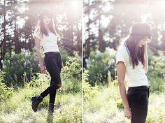 Hudson Black Ripped Skinny Jeans, Vagabond Black Army Boots, Off White T Shirt, Black Bowler Hat, Black Leather Belt