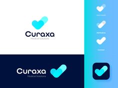Curaxa Medical Solutions Logo Design by Many-Minded Human Brand Identity Design, Branding Design, Logo Design, Health App, Health Logo, Medical Logo, Clinic Design, Medical Design, App Logo