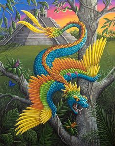 Kukulkan (Plumed or Feathered Serpent) is the name of a Mayan snake deity Could be a dragon, too Mythological Creatures, Fantasy Creatures, Mythical Creatures, Maya Art, Terra Nova, Feathered Serpent, World Mythology, Les Themes, Legendary Creature