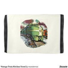 Vintage Train Kitchen Towel #Train #Locomotive #Travel #Vintage #Kitchen #Home #Decor #Towel