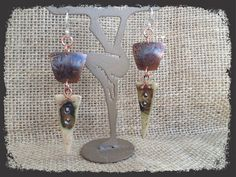 Copper Metal Meets Clay Earrings 2 by AGaugeDesign on Etsy, $32.00