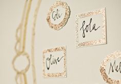 love the look of glittery escort cards