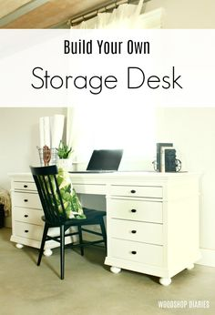 DIY Storage Desk For Home Office --Building Plans and Tutorial Cómo construir un hermoso escri Home Office, Diy Office Desk, Home Desk, Diy Desk, Office Decor, Diy Furniture Projects, Woodworking Furniture, Fine Woodworking, Woodworking Ideas