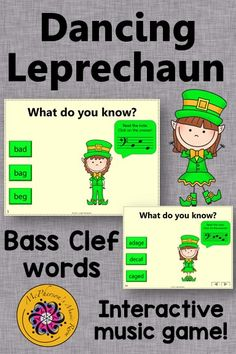 Reading notes names and decoding the words on the Bass Clef staff is fun for your music students with this interactive music game! Great activity to add to your lesson plan especially in March around St. Patrick's Day!