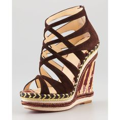 Christian Louboutin Tosca Crisscross Wedge Sandal, Chocolate ($795) ❤ liked on Polyvore