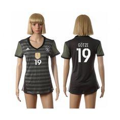 Tyskland Trøje Dame 2016 #Gotze 19 Udebanetrøje Kort ærmer,208,58KR,shirtshopservice@gmail.com