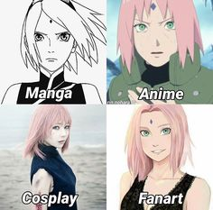 Sakura - it's kind of funny the way her expression gets progressively less determined. it really says a lot about the way people see Sakura. She's so poorly portrayed in the anime tbh Sakura Haruno, Sakura And Sasuke, Naruto And Sasuke, Kakashi, Anime Naruto, Naruto Meme, Manga Anime, Fanarts Anime, Otaku Anime