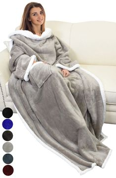 Catalonia Sherpa Wearable Blanket with Sleeves Arms,Super Soft Warm Comfy Large Fleece Plush Sleeved TV Throws Wrap Robe Blanket for Adult Women and Men Snuggle Blanket, Flannel Blanket, Faux Fur Blanket, Hooded Blanket, Blanket With Arms, Tidy Room, Wearable Blanket, Warm Blankets, Warm And Cozy