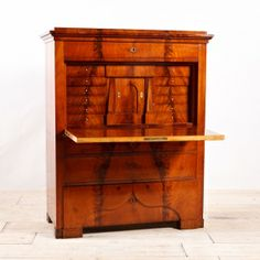 Antique Swedish Fall Front Secretary in Bookmatched Mahogany, c.1870