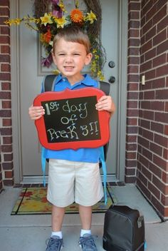 First Day of Preschool Picture -- doing this with Preston this year!!