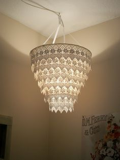 Venise Lace Faux Chandelier Pendant Lamp Shade 'Ivory'. $30.00, via Etsy. (But really, DIY!)