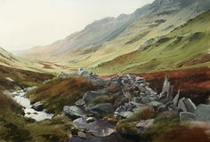 Stream and Wall. Cwm Croesor., an original watercolour painting by Rob Piercy