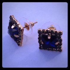 SALE Crystal Earrings Blue crystal in 14k GP. New! Jewelry Earrings