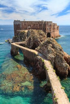 Fort of São João Baptista, Berlenga island, Peniche-Portugal. I lived here for 4 years in Peniche this is a little island about 30 mins away. Places Around The World, The Places Youll Go, Places To See, Dream Vacations, Vacation Spots, Wonderful Places, Beautiful Places, Beautiful Scenery, Landscape Photography