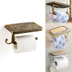>> Click to Buy << Aluminum Alloy Antique  Carving Toilet Roll Paper Rack holder with Phone Shelf Wall Mounted Bathroom Paper Holder And Hook #Affiliate