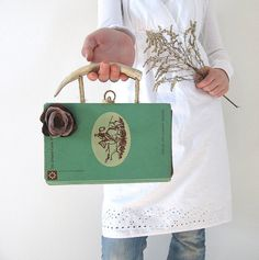 """Book Purse Repurposed Vintage Mint Green Book with Deer Antler Handles """"The Cowgirl"""""""