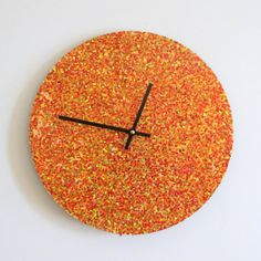 Unique Wall Clock  Orange Glitter Clock Gift Idea  by Shannybeebo, $50.00