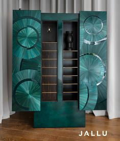 An Armoire in Straw Marquetry, lacquer exterior, Macassar ebony interior, our Ripple Cabinet is more than a functional object, it's a unique piece of decorative art. Designed by Jallu, straw marquetry furniture, marqueterie de paille, Jallu Creations 2021, interior design, super yacht interiors, luxe, french craftsmanship, bespoke furniture, custom furniture, made in France, interior design inspiration, design inspiration 📷@maurinetric