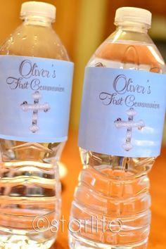 First Communion bottle labels  Blue Silver Cross  by starwedd, $7.50