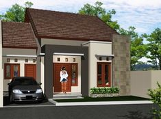 41 Simple Minimalist 1 Floor Model Homes -As we know that how to choose the latest home design models that we are always looking for buildin. Wooden House Design, Bungalow House Design, Small House Design, House On Stilts, House Roof, Latest House Designs, Cool House Designs, One Storey House, Modern Minimalist House
