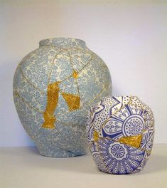 """Charlotte Bailey uses the Japanese technique of kintsugi to repair broken ceramic objects. She uses her own modern technique of """"darning"""" pieces together with metallic thread and beads."""