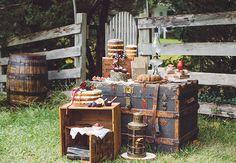 Antique trunk dessert display | Aster & Olive Photography | Blog.theknot.com