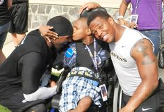15-year-old Sherman, who has Lesch-Nyhan syndrome and cerebral palsy, wished to meet the Baltimore Ravens.
