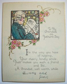 1920's 30's Grandad Father's day  VINTAGE GREETING CARD P