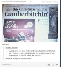 True fans prefer Cumbercookie, bit this is still hilarious!>>>Yes, Cumbercookie is the best because then the fandom is the Cumberbatch Tumblr Funny, Funny Memes, Hilarious, Sherlock Fandom, Sherlock Holmes, Benedict Cumberbatch, Benedict Sherlock, Johnlock, Martin Freeman