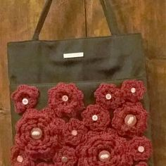 Unique/Borsa/Borsetta a mano/Bag/Bohochic/Black/Sac/Hippie/Gipsy/Floreal/Handmade/RECYCLED/UPCYCLED/flower/uncinetto/crochet/red/tote bag