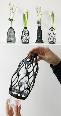 Designer Libero Rutilo of DesignLibero, has created a unique way to give life back to used plastic water bottles. His idea was to create a printed sculptural vase exterior, that can be placed over (Bottle Design) 3d Printing Business, 3d Printing Diy, Impression 3d, Boli 3d, Head In The Clouds, 3d Printed Mask, 3d Printed House, 3d Printed Stuff, Useful 3d Prints